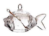 """Стеклянная икорница с ложкой """"Рыбка"""" 355-004"""