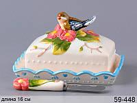 """Масленка с крышкой и ножом """"Птица в цветах"""" 59-448"""