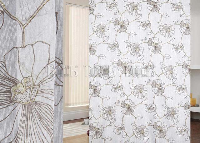 Готовая тюль на шторной ленте для окна с орнаментом, низкая цена, доставка по Украине
