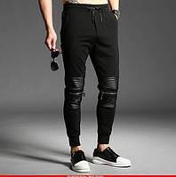 Штаны спортивные мужские рифленые с кожаными вставками на резинке НОВИНКА 2017 года