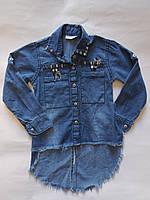 Рубашка джинсовая для девочек от 3 до 7 лет.