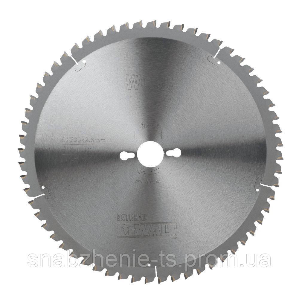 Диск пильный 260 х 30 мм по дереву для стационарных пил, кол-во зубьев 48, передний угол 10°, WZ (ATB), Extreme DeWALT