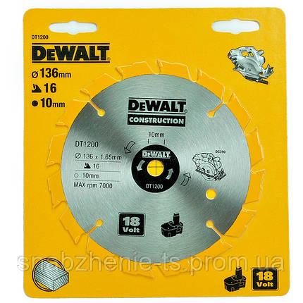 Пильний диск 136 х 10 мм по дереву для аккумуляторных пил, кол-во зубьев 16, передний угол +20°, WZ (ATB), Series DeWALT, фото 2
