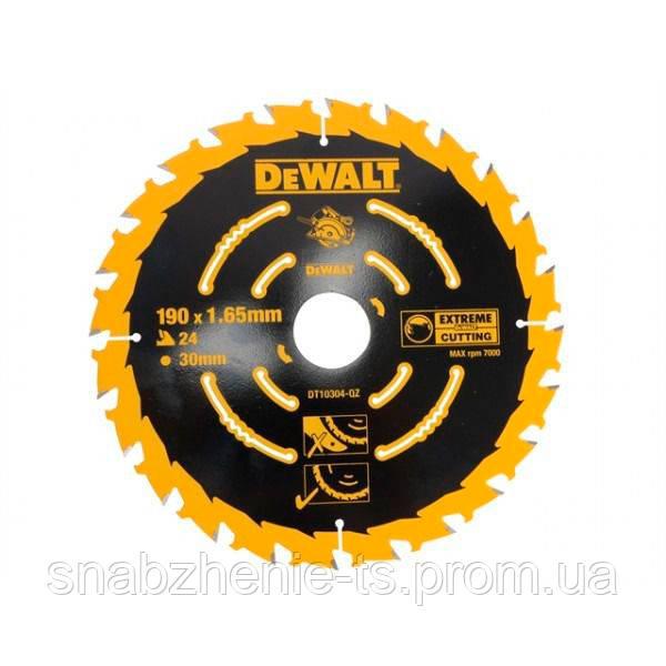 Диск пильный по дереву 190 x 30 мм, кол-во зубьев 24, толщина 1,65 мм, WZ (ATB), передний угол +18° DeWALT