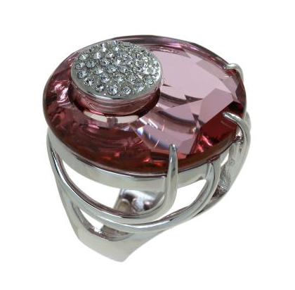"""Кольцо """"Ятру"""" с кристаллами Swarovski, покрытое родием (j704f010)"""