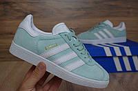 Женские кроссовки Adidas Gazelle Ice Mint, мятные замша