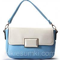 Женская сумка Giorgio Ferrilli голубая с белым клапоном