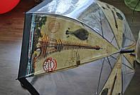 Зонт-трость прозрачный, полуавтомат c принтом Paris