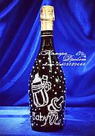 Свадебное шампанское в стразах с надписью Baby