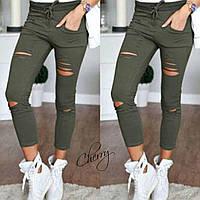 Стильные модные женские короткие рваные штаны брюки с разрезами хаки S M L, фото 1