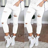 Стильные модные женские укороченные рваные штаны брюки с разрезами белые S M L, фото 1