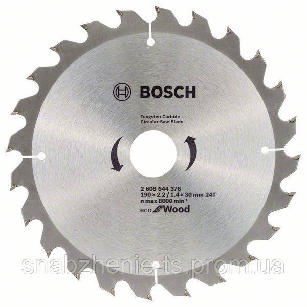 Пильный диск 190 x 20 мм, 48 T по дереву ECO Wood BOSCH