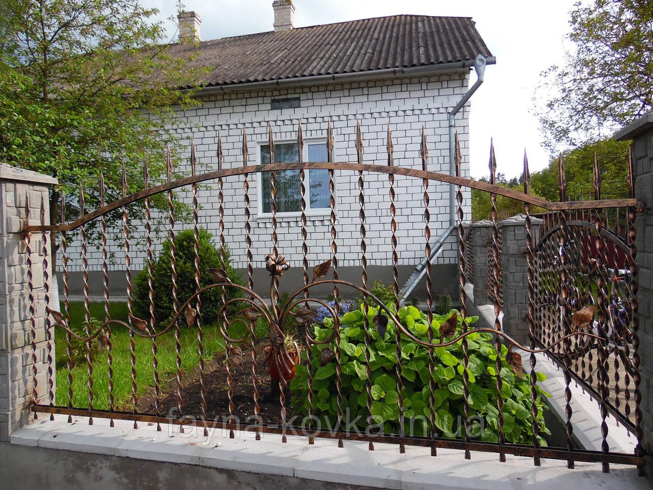 Кованый забор, кованые цветы 1214