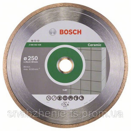 Алмазный отрезной круг 250 x 30/25,4 мм для керамической плитки Standard for Ceramic BOSCH, фото 2