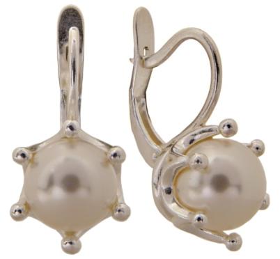 "Серьги ""Экес"" с жемчугом, покрытые серебром (e07011h0) (Без бирки)"