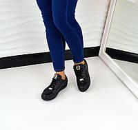 Женские стильные кожаные кеды с цепью черного цвета, 37р