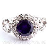 Кольцо, покрытие серебром 925 пробы, куб. цирконий, фото 1