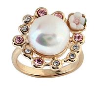 """Кольцо """"Кюсю"""" с жемчугом, покрытое золотом (h816p0g7)"""