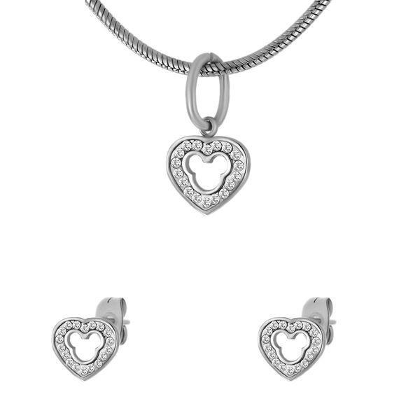 Набор женский Сердечки подвеска и серьги из стали 137523