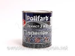 """Краска защита """"3 в 1""""  с молотковым эффектом антрацит 2,2 кг."""
