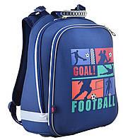 Рюкзак 1 Вересня YES H-12 Football 553371 синий каркасный молодежный один отдел 38см х 29см х 15см