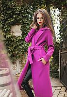 Пальто женское кашемир сиреневый с поясом АФ/-0492