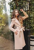 Пальто женское кашемир бежевый с поясом АФ/-0492