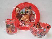 Детский набор посуды Маша и медведь из 3-х предметов