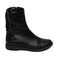 Кожаные ботинки на плоской подпшве