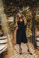 Пальто женское кашемир черный с поясом АФ/-0492