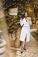 Пальто женское кашемир белый с поясом АФ/-0492
