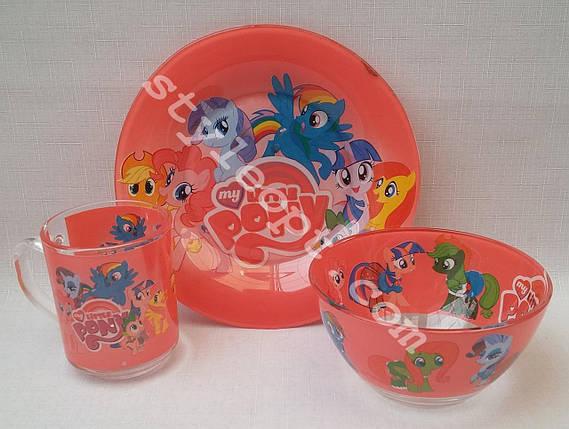 Детский набор посуды с пони из 3-х предметов, фото 2