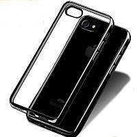 """Прозрачный силиконовый чехол с глянцевым ободком для Apple iPhone 6/6s (4.7"""") черный"""