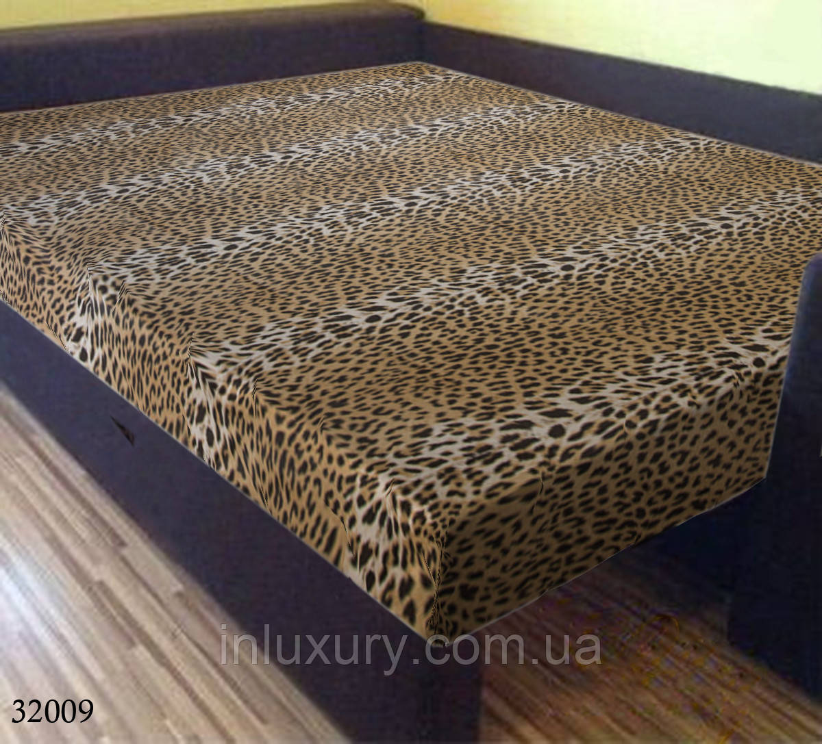 """Простынь на резинке """"Леопард"""" 140х200х20"""