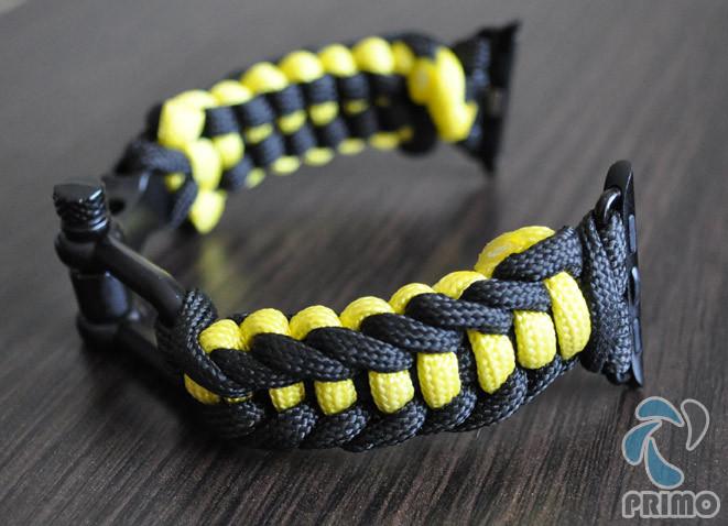 Браслет ремешок Primo Spark Black-Yellow из паракорда для Apple Watch