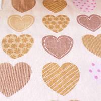 Фланель (байка)  с бежевыми сердечками, ширина 180 см, фото 1