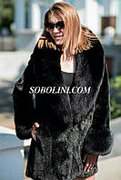 Норковое короткое пальто с финским песцом SAGA, длина 75см