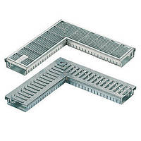 Дренажный желоб SitaDrain угловой, со щелевой решеткой из нерж. стали, ширина 150мм, 500х500мм, высота 50мм, фото 1