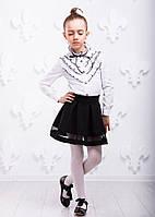 Детская хлопковая рубашка P1005-2 для девочки (р. 116-140, школьная блузка) ТМ ОКП Белый