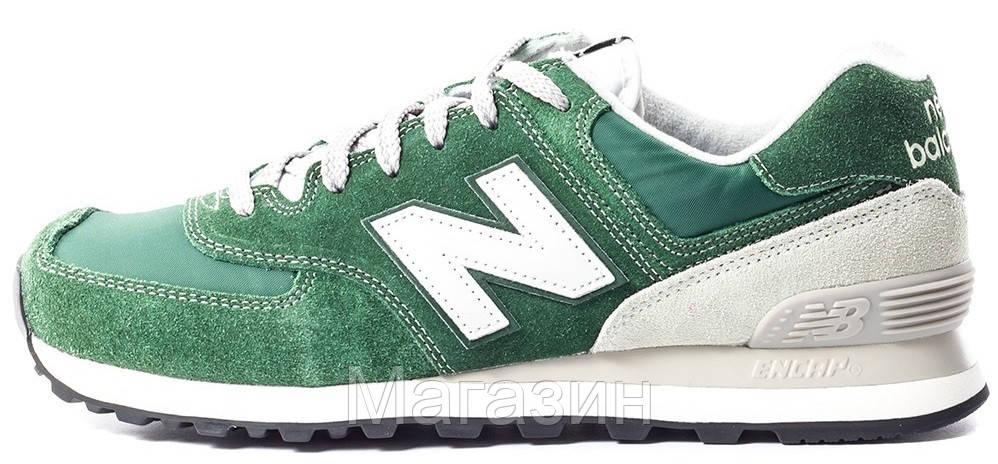 Мужские кроссовки New Balance 574 (Нью Баланс 574) в стиле зеленые