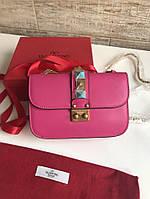 Женская сумочка VALENTINO натуральная кожа розовая