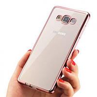 Прозрачный силиконовый чехол с глянцевым ободком для Samsung J700H Galaxy J7 розовый