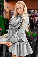 Платье женское Цвет серый,белый,чёрный Ткань рубашка(поплин) Длина 80см,рукав 60см грудь 104см флав№1107