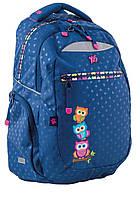 Рюкзак 1 вересня Yes Т-23 Owl 553123 Совята синий подростковый два отдела 30х47х13см