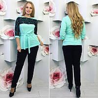Костюм женский блуза с гипюром под пояс и брюки, Ткань креп костюмка