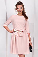 Розовое  платье с бантом