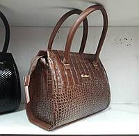 Коричневая лаковая сумочка под рептилию, фото 1