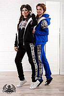 Женский теплый спортивный костюм-тройка с начесом. Ткань: трехнитка. Размер: 42, 44, 46.