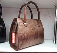 Коричневая женская сумка под рептилию