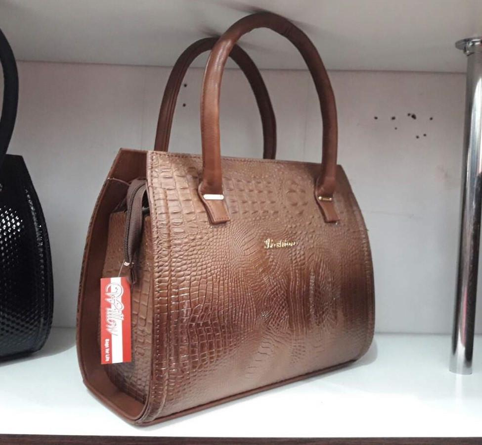 2a3915f27a56 Коричневая женская сумка под рептилию - Интернет-магазин